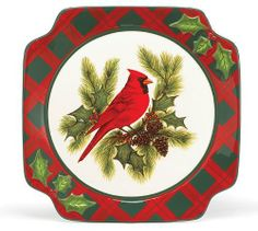 """Set Of 4 Cardinal & Holly Christmas Dinner Plates Beautiful Holiday Dining Decor by Burton & Burton. $47.95. FDA approved/Hand washing recommended. Each plate gift boxed. Set of 4 hand painted ceramic plates. Square plate measuring 10"""" diameter. Beautiful set of dinner plates for the holiday season."""