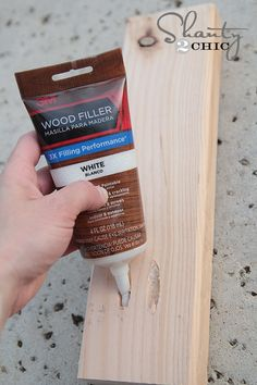 The gals at Shanty2Chic try filling pocket holes (and other holes) with 3M Wood Filler.