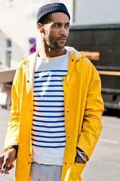 "When we were in Copenhagen last week, I tried to pull off this exact outfit but without the hat (spotted on Soren Jepsen's blog ""Copenhagen Streetstyle""). He wins."