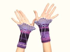 #Fingerless #Gloves - #Romantic #Violet, #Purple, #Pink And #White #Knitted #Wrist #Warmers With #Lilac #Crochet #Lace #Decoration