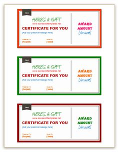 Printable Gift Certificates For Homemade Gifts  Craft Ideas