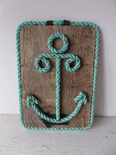 Items similar to Reclaimed Wood with Rope Shaped Anchor Nautical Decor Wall Hanging Sign Nautical Nursery Coastal Beach Decor on Etsy Rope Crafts, Seashell Crafts, Beach Crafts, Diy Crafts, Deco Marine, Rope Art, Nautical Nursery, Nautical Anchor, Nautical Craft