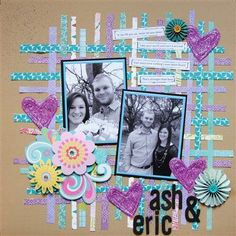 Melissa Johnson scrapbook page layout...nice colors and good use for scraps.