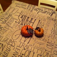 Thanksgiving tablecloth made with a extra wide sharpie and painters drop cloth! Got the idea from here!!