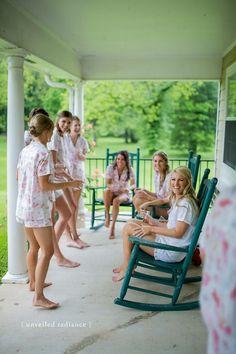 The prettiest bridal party in Imogen Shortie Sets by Plum Pretty Sugar.