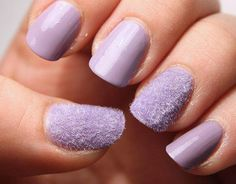 Velvet nails are sort of a new trend and have actually been around for awhile now. Nail Polish Designs, Nail Art Designs, Fan Brush Nails, Velvet Nails, Caviar Nails, Purple Nail Polish, Lilac Nails, Manicure Y Pedicure, Beautiful Nail Art