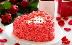Pink flowers cake, rose, petals