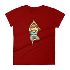 Independence Red Yoga Girl Short Sleeve T-Shirt for Women