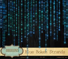 Blue Bokeh Sparkling String Lights Clipart by OriginsDigitalCurio