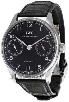 IWC Portuguese Automatic Steel Black Mens Watch IW500109