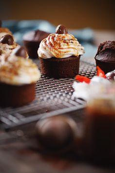 Cupcakes chocolat, pralin et caramel