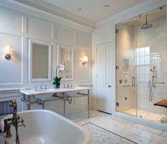 Top 60 Best Master Bathroom Ideas - Home Interior Designs Master Bathroom Shower, Modern Bathroom, Small Bathroom, White Bathroom, Bathroom Carpet, Bathtub Shower, Chic Bathrooms, Bath Tub, Contemporary Bathrooms