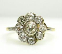 Diamond Cluster Ring, Old Mine Cuts, Set In Platinum
