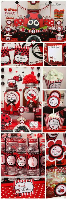 over the top table! Baby Ladybug, Ladybug Party, Baby 1st Birthday, 2nd Birthday Parties, Birthday Ideas, Frozen Birthday, Ladybug 1st Birthdays, Festa Party, Childrens Party