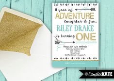 Boy's First Birthday Party invitation - printable digital invitations - design - file - photo invitation - tribal boho arrows - arrow feathers - teepee camp - camping - gold glitter - light aqua teal blue, and black - adventure - wild one boys party - 1st birthday party themes and ideas - diy - etsy - Camalee Kate Studio