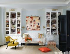 Eye-catching Pattern -- Must do this for the built-in shelves around the fireplace -- with fabric!