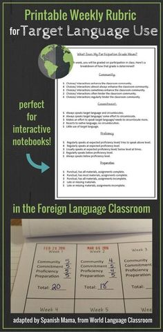 FREEBIE! Weekly Rubric for Target Language Use, adapted from World Language Classroom. This is great for evaluating student effort and commitment to growing in proficiency.