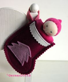 NEW Christmas Stocking for  waldorf dolls with mini pocket doll - waldorf toy. $25.95, via Etsy.