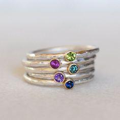 Gemstone or Diamond Stacking Ring 2.5mm Gemstone by LilianGinebra