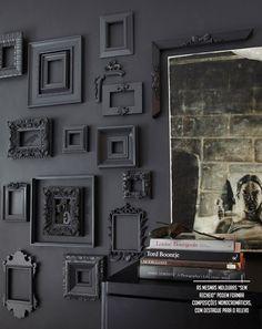 black wall and frames #decor #walls #frames