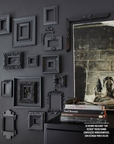 black wall and frames #decor #walls #frames