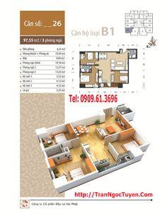 Thiết kế căn hộ 97.55m2 chung cư The Pride CT1 CT2 Ct4