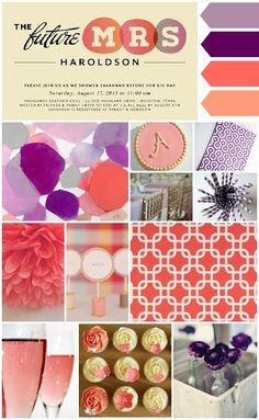 Gorgeous purple and coral wedding shower inspiration...