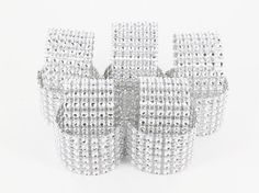 25 Diamond Rhinestone Napkin Rings - 6 Row wedding party special occasion