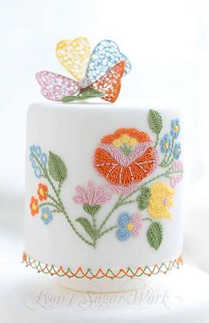 Amazing Colorful Royal Embroidery on White Cake