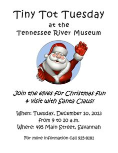 Don't want coal for Christmas? Come to the Tennessee River Museum and let Santa know on Dec. 10 from 9-10 a.m.!   Visit https://www.facebook.com/tennesseerivermuseum to learn more!