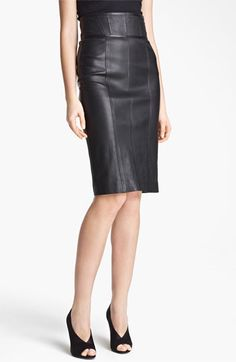 Burberry London High Waist Leather Skirt available at #Nordstrom