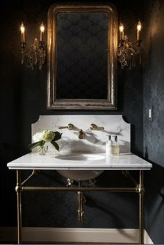 Glamorous Powder Room - Design photos, ideas and inspiration. Amazing gallery of interior design and decorating ideas of Glamorous Powder Room in bathrooms by elite interior designers - Page 1 Dark Gray Bathroom, Grey Bathrooms, Beautiful Bathrooms, Gold Bathroom, Luxury Bathrooms, Gothic Bathroom, Bathroom Interior, 1920s Bathroom, Small Bathroom