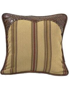 Studded Leather Striped Accent Pillow