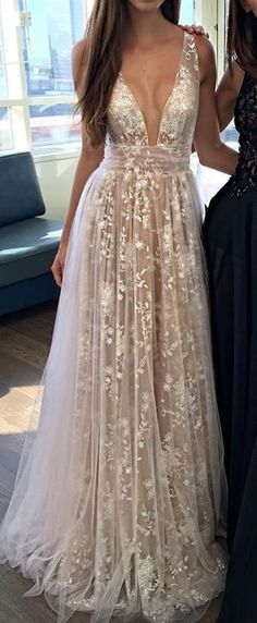 2019 A-Line Deep V-Neck Tulle Lace Appliques Floor-Length Long Sexy Party Prom D. - - 2019 A-Line Deep V-Neck Tulle Lace Appliques Floor-Length Long Sexy Party Prom – SposaBridal Source by Year 10 Formal Dresses, Prom Dresses Two Piece, V Neck Prom Dresses, Prom Dresses For Teens, Prom Dresses Online, Lace Formal Dresses, Long Dress Formal, Grad Dresses Long, Floor Length Dresses