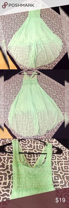 "Mint Green Flowy Dress In good condition! Length of front dress is around 36"". Length of back dress is around 48"". Charlotte Russe Dresses Asymmetrical"