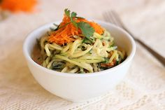 Spicy Sunbutter Noodles...a rich and creamy sauce combines with zucchini noodles for a vegetable-packed meal!