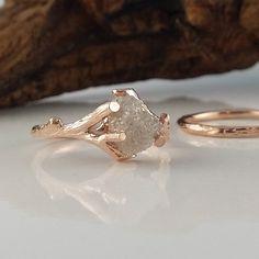 Raw Uncut Rough Twig Diamond Solitaire Engagement Ring, Twig Wedding Band Rough 14k Rose Gold Wedding Ring, Wedding Set by DawnVertreesJewelry on Etsy