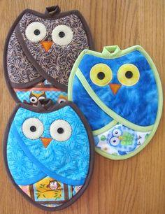 Owl potholders - free patterns