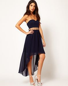 Rare Hi Low Dress With Pearl Cut Out