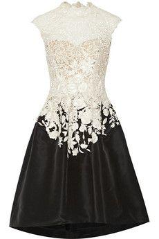 Oscar de la Renta Embroidered lace and faille dress   NET-A-PORTER