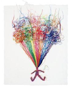 Thread drawings by Do Ho Suh Do Ho Suh, Plant Art, Korean Artist, Fiber Art, Art Projects, Weaving, Rainbow, Ink, Embroidery