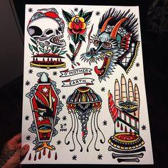 Sam Ricketts as featured on www.swallowsndaggers.com #tattoo #tattoos #flash