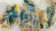 Illustration about Urban. Watercolor art for your design. Illustration of painting, canvas, artistic - 70942539 Your Design, Design Art, Design Ideas, Flyer Design, Watercolor Art, Canvas, Abstract, Urban Design, Illustration