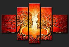 Neonphoenix Christmas Holiday Gift Abstract Hand Painted on Canvas Hot Sale Red Couple Lovers Kiss Tree Oil Paintings Landscape Wall Art for Living Room Wall Decoration Neonphoenix 5 Panel Wall Art, Triptych Wall Art, Canvas Wall Art, Canvas 5, Living Room Canvas, Living Room Art, Home Wall Art, Wall Art Decor, Decoration