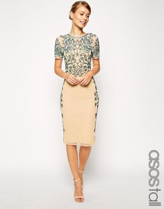 ASOS TALL Baroque Embelished Midi Shift Dress