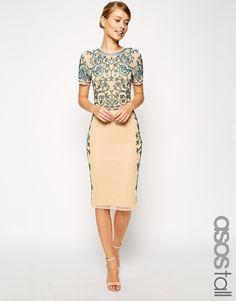ASOS TALL Baroque Embelished Midi Shift Dress