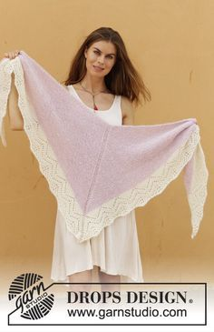 Esmeralda - Knitted shawl in garter stitch with lace pattern. Piece is knitted top down in DROPS Alpaca and Kid-Silk. - Free pattern by DROPS Design Shawl Patterns, Lace Patterns, Knitting Patterns Free, Crochet Patterns, Drops Design, Knitted Shawls, Crochet Shawl, Knit Crochet, Crochet Summer