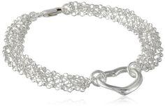 Sterling Silver Multi-Chain Heart Pendant Bracelet,available at joyfulcrown.com