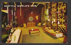 1962 Mexican Pavilion Interior Seattle World's Fair Exposition Stamp Postcard