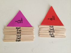 Word family houses using Popsicle sticks. You can use different colored foam triangles for each word family roof. Would use this as a word work rotation! Kindergarten Language Arts, Kindergarten Centers, Kindergarten Reading, Kindergarten Classroom, Teaching Reading, Teaching Ideas, Guided Reading, Word Family Activities, Literacy Activities
